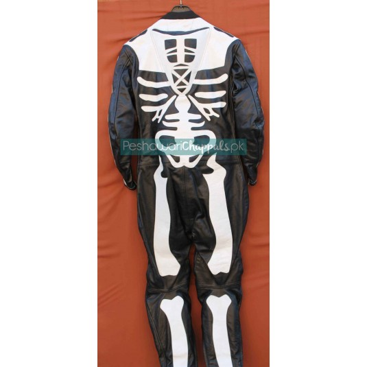 UnderGround Men's Leather Motorcycle Suit – Skeleton Sketch Bones